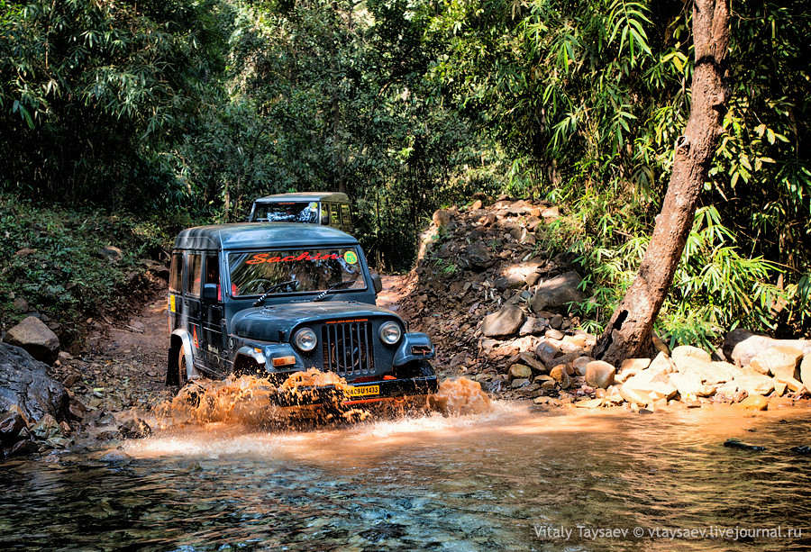 Jeep crossing river