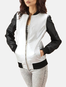 Silver Leather Bomber Jacket